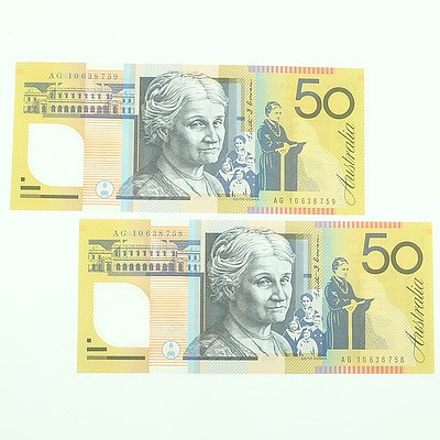 Two 2010 Consecutively Numbered Uncirculated $50 Polymer Notes, AG10638758-AG10638759