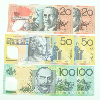 2010 Uncirculated First and Last Prefix $20, $50, $100 Polymer Notes
