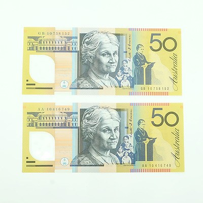 2010 First and Last Prefix Uncirculated $50 Polymer Notes, AA10416749 and GB10758152