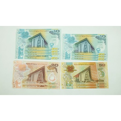 Group of Consecutively Numbered Papua New Guinea $50, $20 and $10 Notes