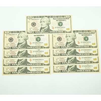 Nine Consecutively Numbered Unites States of American $10 Notes, GF69825822A-GF69825830A