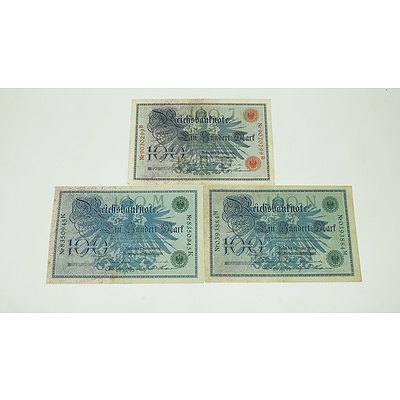 Three German 1908 100 Mark Certificates