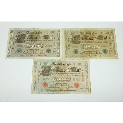 Three German 1910 1000 Mark Certificates