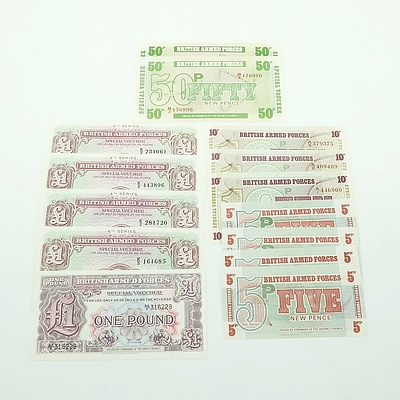 Group of British Armed Forces Currency, Including One Pound, 50 Pence, 10 Pence and 5 pence