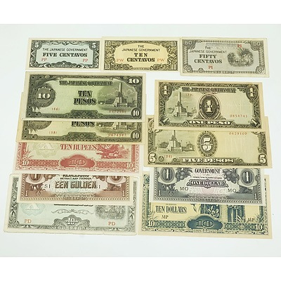 Group of Japanese Occupation Currency, Including Ten Dollars, ten Pesos, Ten Rupees and More