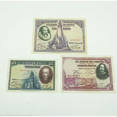 Three 1928 Spanish Banknotes