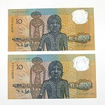 Two 1988 Australian Polymer Bicentennial Commemorative $10 Notes, AA04077496 and AA23063277