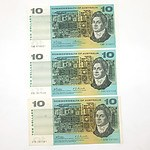 Three Uncirculated Commonwealth of Australia $10 Paper Notes, STD107581, TAB976027 and SSL037539