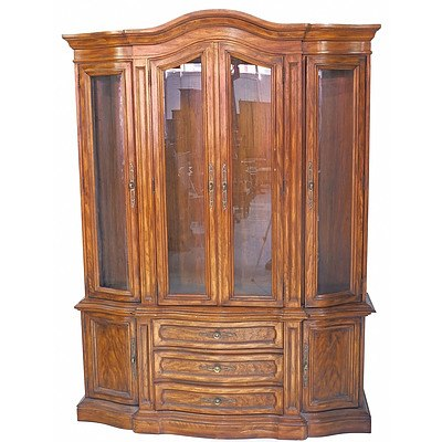 Drexel Vintage Timber Serpentine Front Vitrine in the French Style