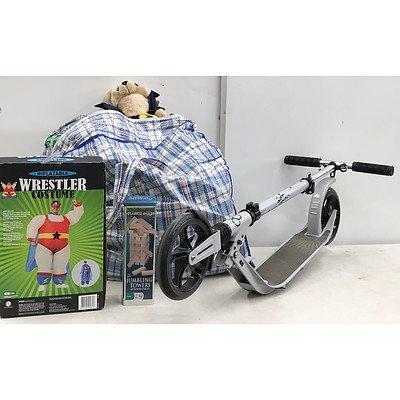 Bag of Children's Toys & Crane Commuter Scooter