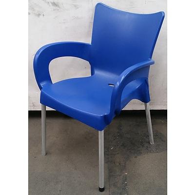 Siesta Blue Plastic Chairs - Lot Of 20
