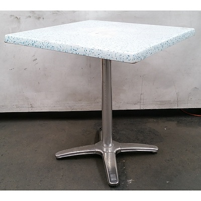Plastic & Steel Cafe Tables - Lot Of 7
