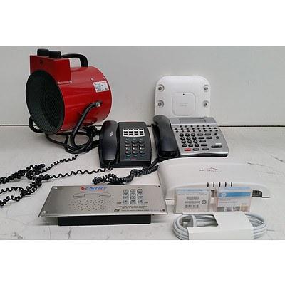 Bulk Lot of Assorted IT & Office Equipment - Office Phones, Access Points & Fan Heater