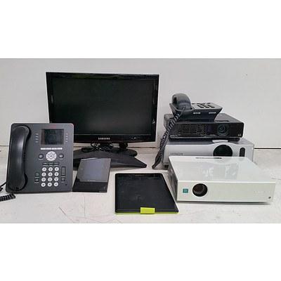 Bulk Lot of Assorted IT & Office Equipment - Office Phones, Projectors & Samsung TV