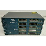 Cisco Catalyst (WS-C3560-24PS-S) 3560 Series PoE-24 24-Port Managed Ethernet Switches - Lot of Five