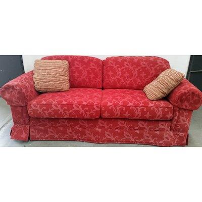 2 x 2.5 Seat Red Moran lounges