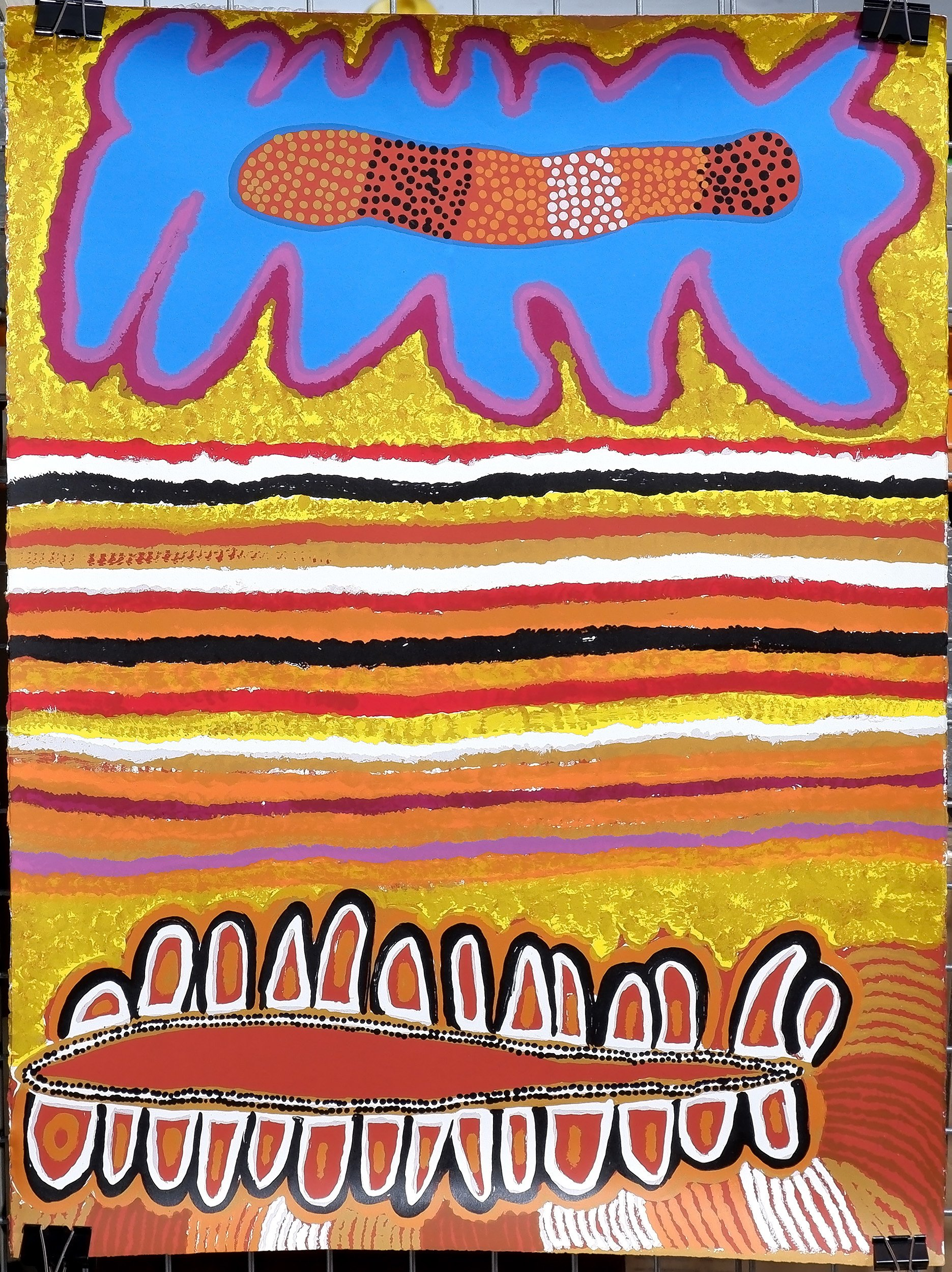 'Attributed to Susie Bootja Bootja Napaltjarri (1935-2003) Acrylic on Paper 1999, Unframed'