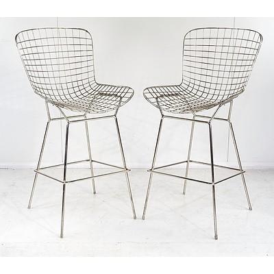 Pair of Replica Harry Bertoia Style Bar Stools