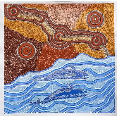 Verna Lawrie (1953-) Jidirah the Whale and Gamba the Snake, Acrylic on Canvas, Unframed