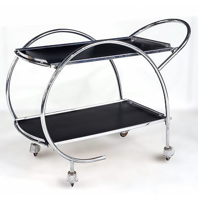1950s or 60s Art Deco Style Chromed Tubular Style and Vinyl Laminate Shelved Drinks Trolley