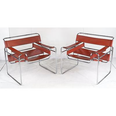 Pair of Vintage Marcel Breuer Design Tubular Steel and Tan Leather 'Wassily' Chairs, Made by Fasem Italy 1970's