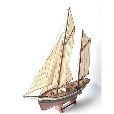 Wooden Model Schooner Rigged Ship on Wooden Stand