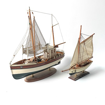 Two Wooden Model Ships by Advance Giftware