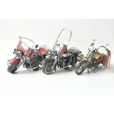 Three Tin Models of Classic Motorbikes