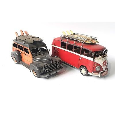 Two Tin Models of Classic Cars by Jayland