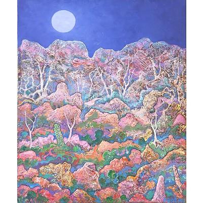David Hill (Britain 1947-) Mountain Mystique Paint on Canvas