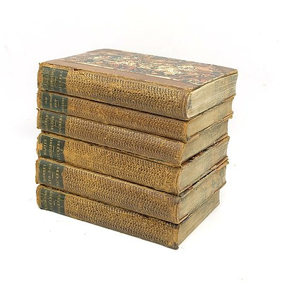 Six Antique Charles Dickens Leather Bound Gilt Tooled Books, Including Old Curiosity Shop and David Copperfield
