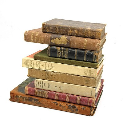 Nine Antique Books, Including; 'The Works of Aristotle', 'Homer's Stories Simply Told' By Charles Henry Hanson (1882), 'For The Term of His Natural Life' By Marcus Clarke (1961) and More