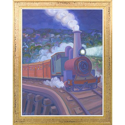 David Hill (Britain 1947-) The Puffing Billy Night Train Oil on Canvas