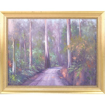 Sandra Hill (1950-) Forrest Road Oil on Canvas