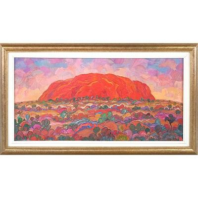 David Hill (Britain 1947-) The Rock - Uluru Oil on Canvas