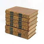 Six Antique Leather Bound Gilt Tooled Volumes of Plutarch's Lives, By J. Langhorne, D.D. and W. Langhorne, M.A. (1826)