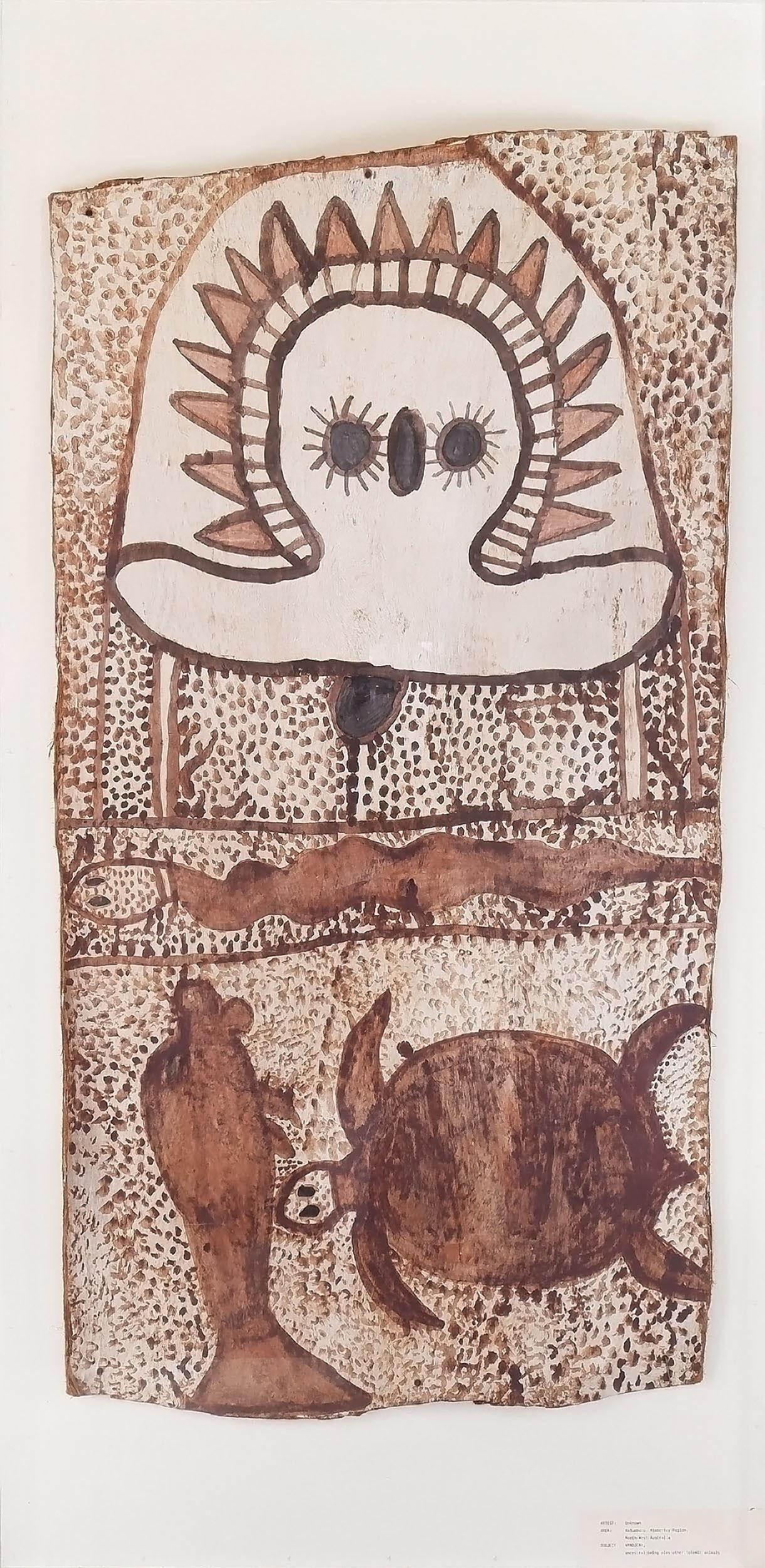 'Aboriginal Artist Unknown (Kimberley Region) Wandjina Spirit and Totemic Animals, Ochre on Bark'