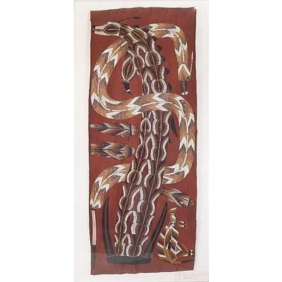 Djawida Nadjongorle (c.1943-2008) Rainbow Serpent and Ancestor Animals, Ochre on Bark