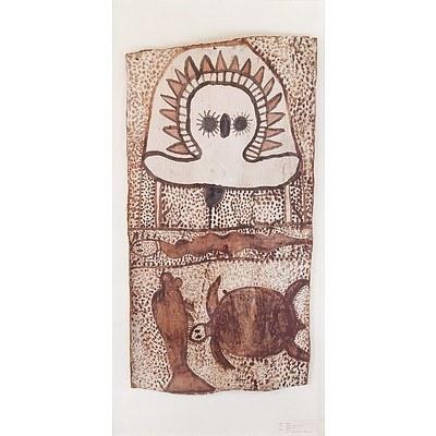 Aboriginal Artist Unknown (Kimberley Region) Wandjina Spirit and Totemic Animals, Ochre on Bark