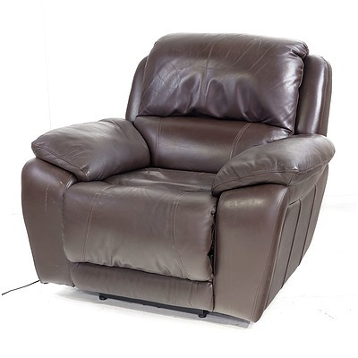 Brown Leather Upholstered Electric Reclining Armchair