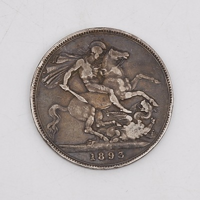 1893 Queen Victoria Crown Silver Toned