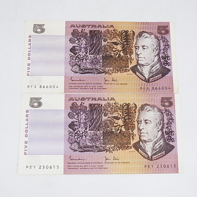 Two 1983 Australia Five Dollar Banknotes Johnston/Stone
