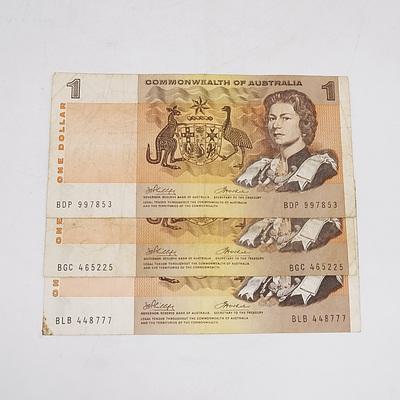 Three 1972 Australia One Dollar Banknotes Phillips/Wheeler
