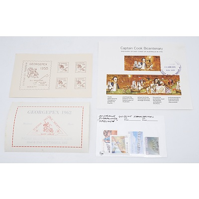 Group of Stamps and Stamp Sheets Including Georgepex Miniature Sheets, Captain Cook Bicentenary Miniature Sheets and More