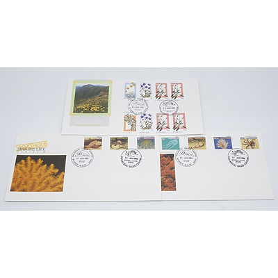 Two 1986 Australia Venomous Marine Life Series First Day Cover Stamps and 1988 Australia Wildflower First Day Cover Stamp