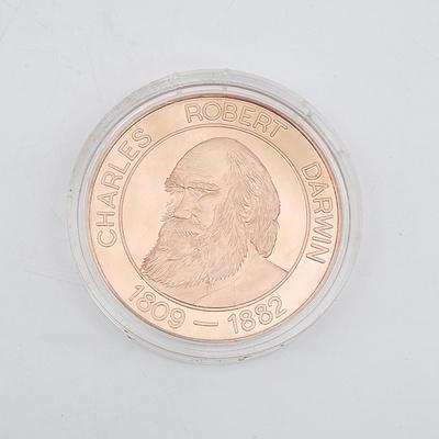 1809-1882 Charles Darwin Tourist Dollar Solid Copper
