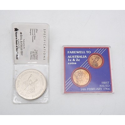 1966 Farewell to Australia 1 Cent & 2 Cent Coins and 1990 New Zealand One Dollar Commonwealth Games