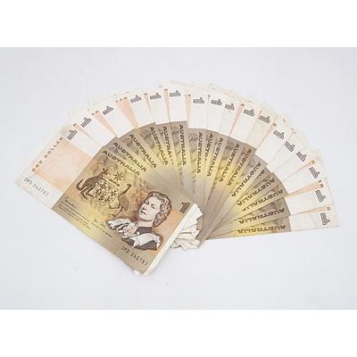 18x 1982 Australian One Dollar Banknotes Knight/Stone