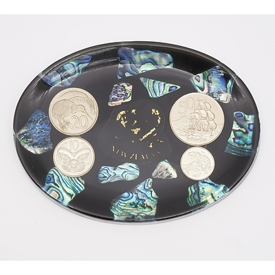 New Zealand Four Coin Set in Paua Shell Dish