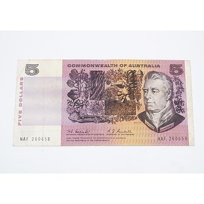 1967 Australian $5 Banknote Coombs/Randall